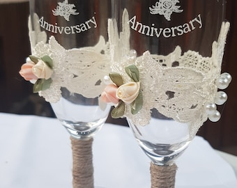 Happy  40th Anniversary ( Lace Rustic Style handmade champagne glasses )