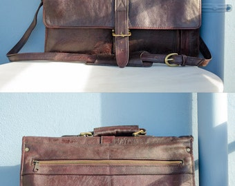 1990's HiDesign Dark Red Leather Office Bag