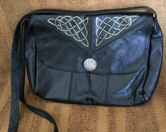 Genuine Leather Crossbody bag, Reimagined with Custom Celtic Knotwork Silver Conchos, Black w/gold artwork by Wes Connell