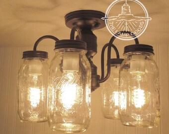 View mason jar lights by lampgoods on etsy mason jar ceiling light 5 light new quarts farmhouse flush mount lighting chandelier pendant aloadofball Images