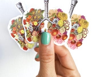 Lungs with flowers, Human Lungs with flowers stickers, laptop stickers,Decal stickers, Medical student gift, BFF Girls STC008