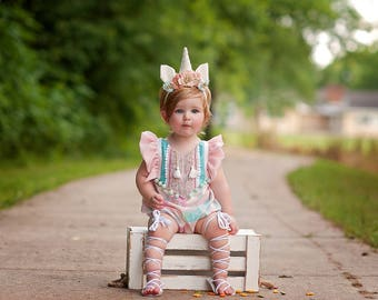 Baby unicorn flower crown headband - Pink and baby blue - Unicorn flower crown - Kensley