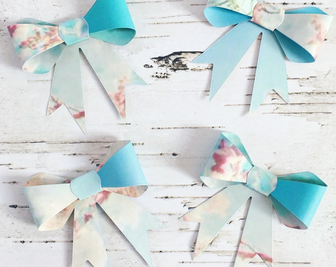 Bows, paper bows, gift bows, floral bows, floral gift bows, gift topper, gift wrap, floral gift wrap, four pack, pack of bows, box of bows