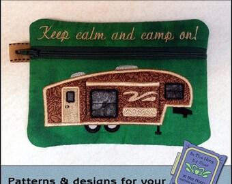 ITH Fifth Wheel Zipper Bag - Fully Lined - In The Hoop Zipper Bag - Camper Zipper Bag - Embroidery Design - 5 x 7 Hoop