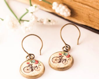 Bicycle Earrings - Bike Earrings - Bicycle Jewelry - Bike Jewelry - Wood Earrings - Shabby Chic, Bicycle - Gift For Her - Gift For Biker
