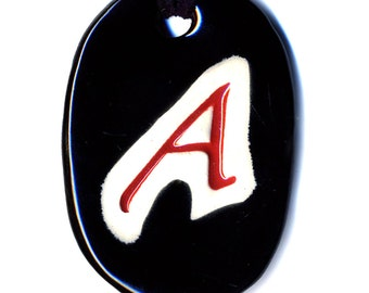 The Scarlet Letter Ceramic Atheist Necklace in Black