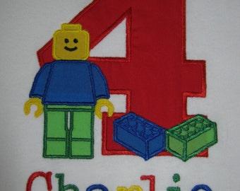 Personalized Building Block Birthday Shirt shown here as fourth birthday shirt