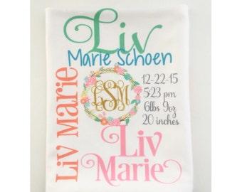 Personalized Baby Blanket - Monogram Baby Blanket Swaddle Receiving Blanket Baby Shower Gift