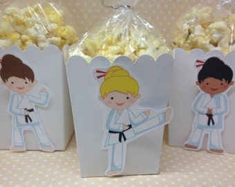 Karate, Martial Arts Party Popcorn or Favors Boxes - Set of 10