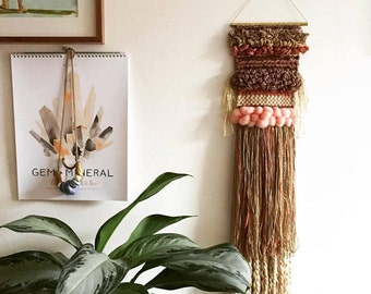 """SOLD OUT Handwoven Wall Hanging / Tapestry Weaving 6"""" x 30"""" (""""Last Kiss"""")"""