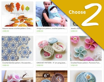 Mothers day crochet patterns discount bundle, choose any 2 patterns. digital file last minute gift.