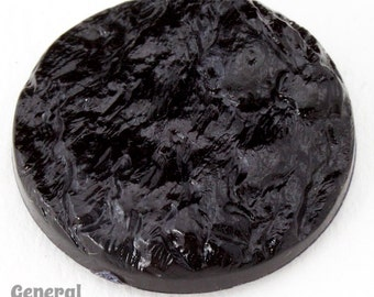 25mm Black Cabochon Round with Rough Texture #3947