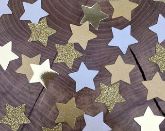 150 twinkle Star Confetti pieces. Gold glitter, shiny gold stars, ivory stars, Table decoration