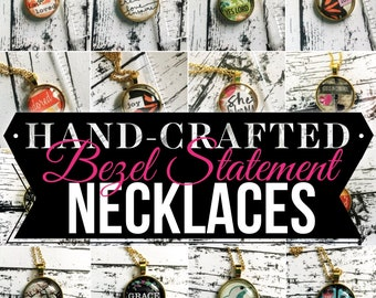 I Am Glass Bezel Statement Long Gold Chain Necklaces