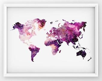 Galaxy World Map, World Map Print, Map Wall Art, World Map Printable, Watercolor World Map, Travel Map Decor, Galaxy World Map Poster