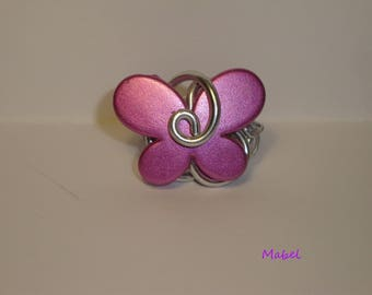 Butterfly purple rose, Adjustable ring, wedding