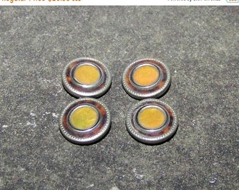 ON SALE VINTAGE Cuff Links  Silver Double Sided Brown Ring Gold Center Design