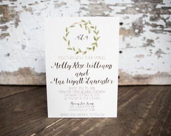 Shabby Chic Invitation, Laurel Wreath Wedding Invitation- Laurel Wedding Suite : A7 Wedding Invitations