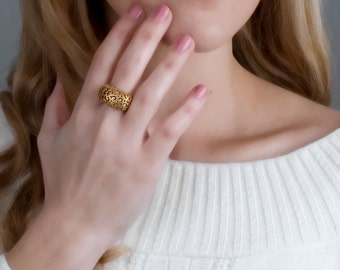Lace Ring, Gold Filigree Ring, Victorian Ring, Statement Ring, Bohemian Ring, Boho Chic Ring, Gypsy Ring, Hippie Ring, Vintage Style Ring