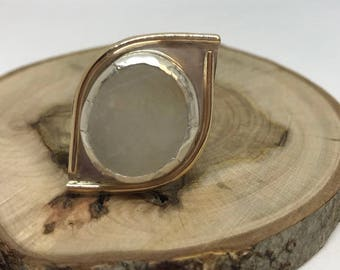 Maine Beach Stone Ring -Size 8, Sterling Silver, Gold Plated