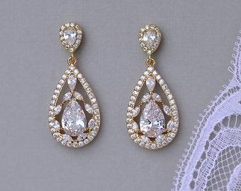 Gold Crystal Teardrop Earrings, Gold Bridal Earrings, Crystal Bridal Jewelry, Vintage Style Crystal  Earrings, Gold Jewelry,  COCO G