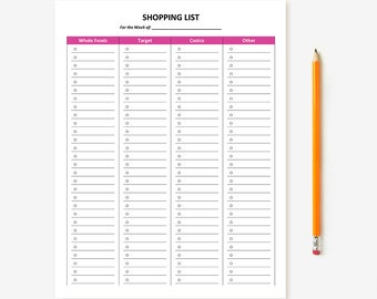 Customizable Printable Shopping List