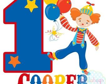 Circus Birthday IRON ON TRANSFER- Personalized Name - Boy Birthday - Tshirts - First Birthday