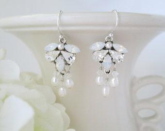 Swarovski crystal and pearl wedding earring, White Opal and pearl drop earring, Petite chandelier bridal earring