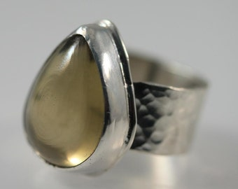 Olive Quartz and Sterling Silver Ring