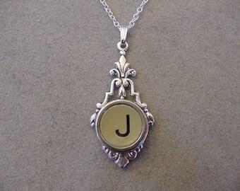 Typewriter Key Necklace RARE GRAY LETTER  J  Initial Necklace Typewriter key Jewelry Necklace Initial J