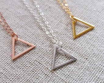 Rose Gold Triangle Necklace, Rose Gold Filled Chain, Dainty Triangle, Triangle Charm, Geometric Necklace, Geo Jewelry, Layering Layered