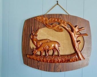 vintage deer decor, carved wood, boho wall hanging, buck doe art, cabin decor, hand carved deer, nature lover gift, mancave hunter, woodsy