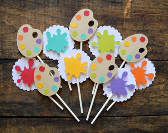 Cupcake Toppers | Birthday Party | Photo Shoot Prop | Party Decor | Art Artist Theme | Paint Theme