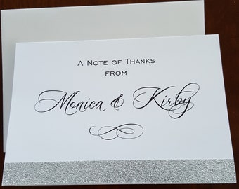 Thank You Cards, Glitter Thank You Cards, Gold Glitter Thank You Card, Silver Glitter Thank You Card