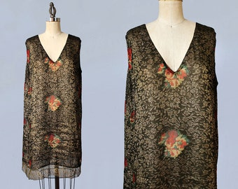 AMAZING 1920s Dress / 20s Gold Lamé Embroidered Deco Flapper Dress / Floral Chiffon CUTOUTS / Gold Lace Trim