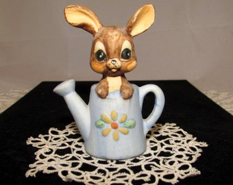 Vintage Porcelain Bisque Brown Bunny Rabbit in Blue Watering Can Figurine, Made in Taiwan, Cute, home decor, collectible