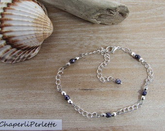 """""""Luce"""" Purple speckled Czech glass beads silver anklet"""