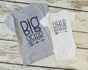 Big Sister Little Brother Outfit  /Custom heart color / Big Sister and Little Brother set