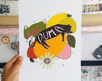 Print -tropical puma -