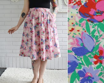 Vintage Cotton Skirt in Pink Floral Print with Pockets by Haband For Her Size Small