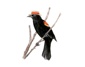 """No.11 - """"Red-winged Blackbird with Boater"""" - high-quality 8x10"""" giclée fine art print, signed by artist"""
