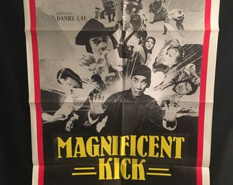 Original 1980 Magnificent Kick One Sheet Movie Poster, Karate, Kung Fu, Martial Arts, Daniel Lau