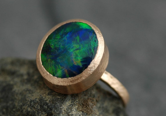 Huge Black Opal in Recycled 18k Gold- Made to Order, Deposit