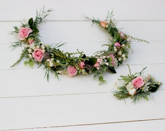 Greenery floral crown Romantic flower comb Pink roses hair wreath Baby's breath bridal halo Wedding flowers Maternity crown Bridesmaid