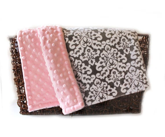 Personalized Baby Blanket, Minky Baby Blanket, Damask White Pink Gray Girl, Baby Girl Blanket, Name Baby Blanket, Gray Damask Blanket, Kids