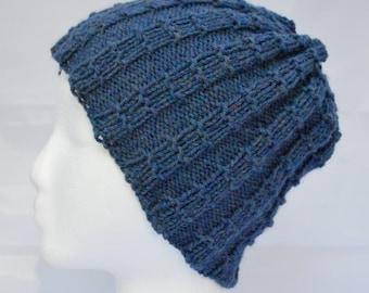 Reversible Hat, Gender Neutral Beanie, Winter Skull Cap, Heather Blue