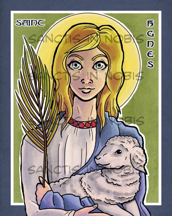 Saint Agnes Catholic Art Print Saint Icon Iconography