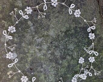 "Wedding Hair vine, crown, tiara, Bohemian,Pagan,Celtic,bridesmaid, flower girl,prom 10""/25cm"