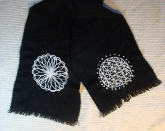 black wool scarf with white mandalas