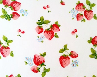 Cotton Fabric, Strawberry Fabric, Strawberry Print Sewing Fabric, Fruit Poly Cotton Kids Fabric, UK Fabric, Craft Cotton, Toy Making Fabric